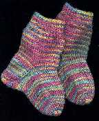 baby socks in Lorna's Laces pastel rainbow sock yarn